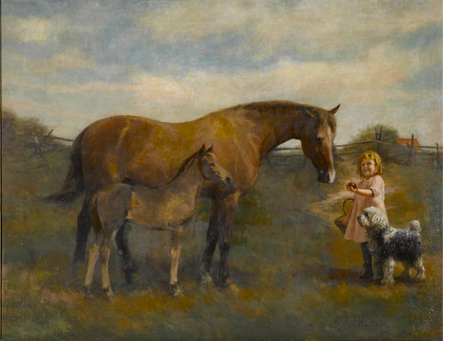 Paul Wickson, Pasture with Hourses and figure, 48 x 76 framed, 1914