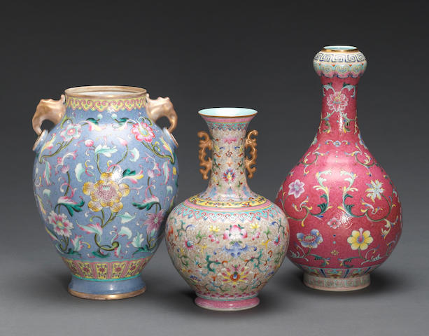Three enameled porcelain vases