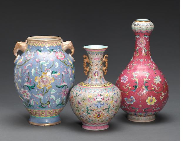 Three enameled porcelain vases Republic period