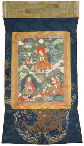 A thangka of Rahula, Pindola Bharadvaja, and Chudapantaka Tibet, 18th century