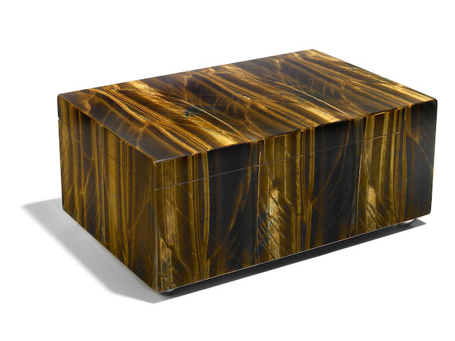 A large Tiger's Eye Quartz Intarsia box