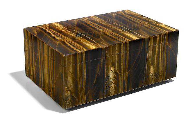 A large Tiger's Eye Quartz Intarsia box