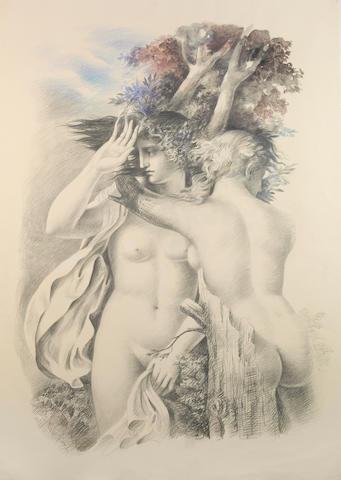 Carlo Maria Mariani (Italian, born 1931) Eliadi, 1982 39 3/8 x 27 5/8in (100 x 70.2cm) unframed