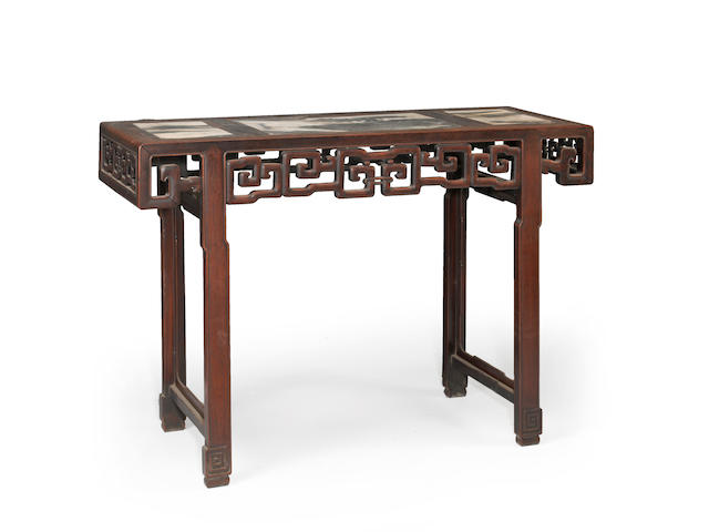 A carved marble top inlay keyfret apron altar table