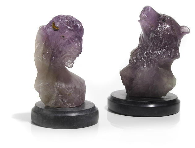 Carved Amethyst Bison and Amethyst Bear