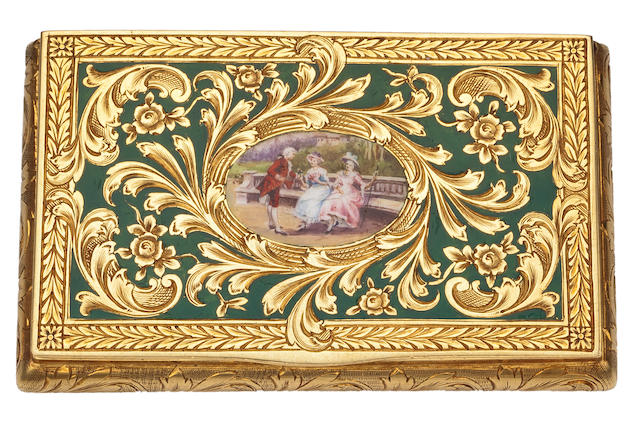 An eighteen karat gold and enamel box