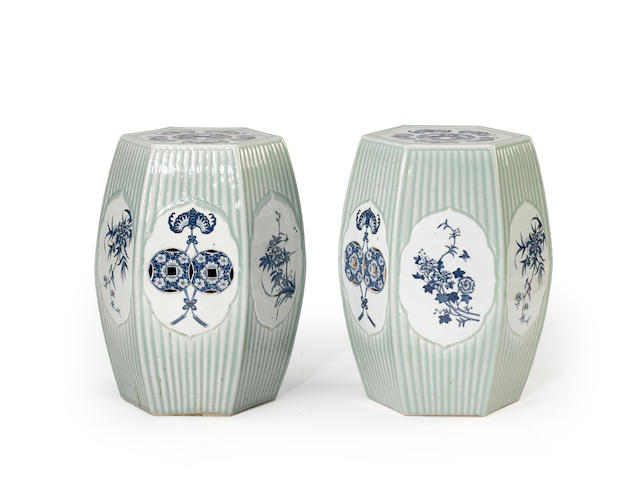 A pair of hexagonal porcelain garden seats with underglaze blue and celadon glaze decoration Republic period