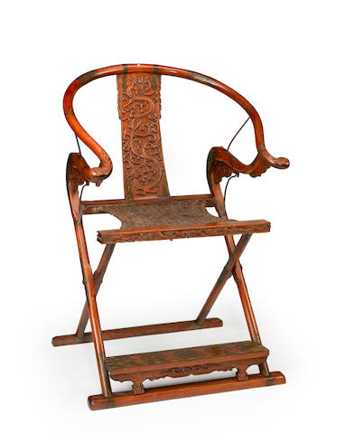 A huanghuali folding chair Ming style, late 20th century