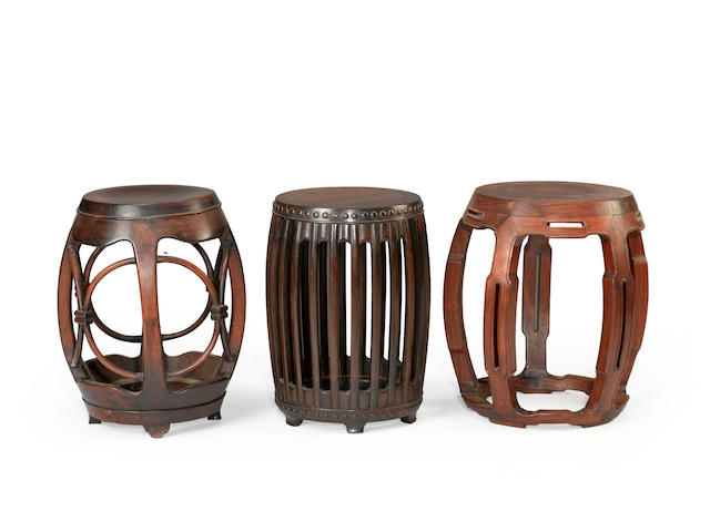 Three hardwood barrel-form stools