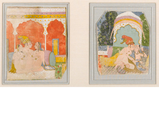 Group of two Indian miniature paintings 18th Century now framed and mounted together-