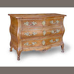 A Louis XV walnut bombé commode<br> second quarter 18th century