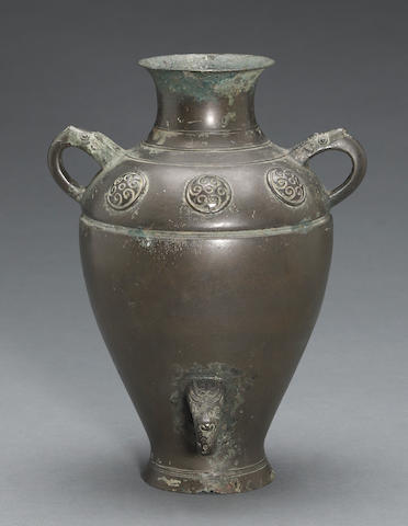 An archaistic cast bronze baluster vase 17th/18th century