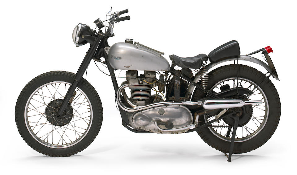 Fonzie's lost-and-found Triumph from the Happy Days TV series ,1949 Triumph Trophy 500 Custom Frame no. 11198T Engine no. TR59016133