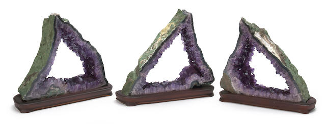 Suite of Three Amethyst Geode Cross-sections