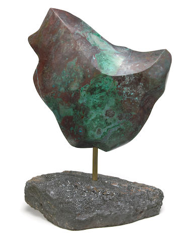 A Chrysocolla, Malachite, Cuprite, and Chalcocite sculpture on base