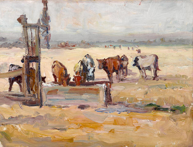 Selden Connor Gile (American, 1877-1947) Cows at the old windmill pump 12 x 16in