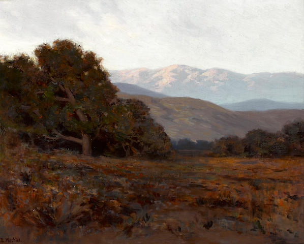 Elmer Wachtel (American, 1864-1929) Shadowy hills with sunlit mountains in the distance 16 x 20 1/4in