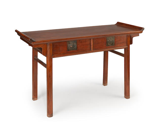 A huanghuali and mixed wood two drawer altar table