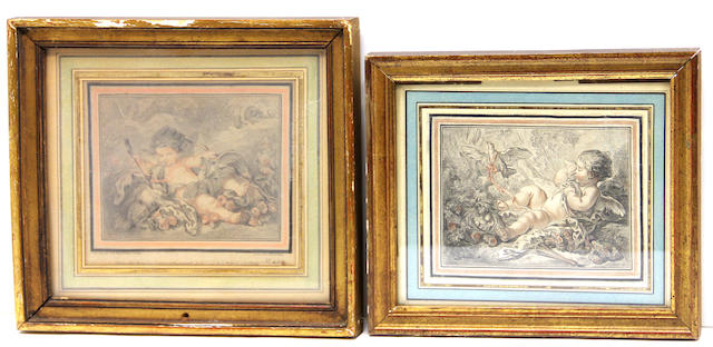 A group of four framed prints