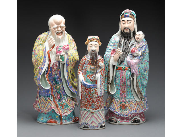 An assembled set of polychrome enameled porcelain figures of the Three Stars of Happiness