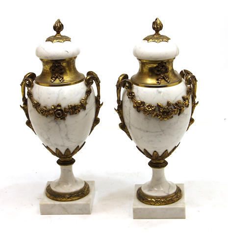 A pair of Neoclassical style gilt bronze mounted marble urns mid 20th century