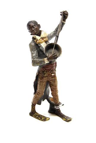 A Franz Bergman cold painted bronze black memorabilia figure of an entertainer