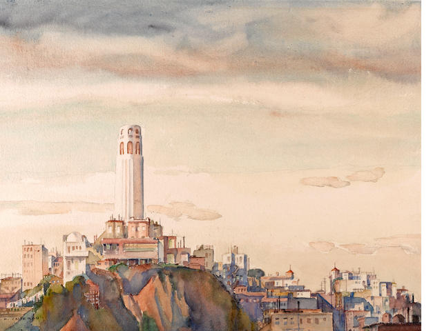 William Ross Cameron (American, 1893-1971) Coit tower, 1937 and twelve other works including various views of San Francisco (thirteen) sight: 15 1/2 x 19 3/4in and various smaller sizes