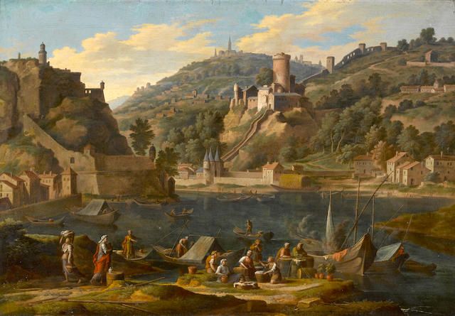 Circle of Adrien Manglard (Lyons 1695-1760 Rome) A harbor with figures on a quay and a hill town beyond 18 1/2 x 27 3/4in (47 x 70.5cm)
