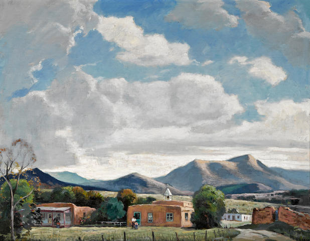 Cornelis Botke (American, 1887-1954) New Mexico 20 x 26in