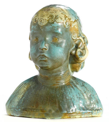 Beniamino Benvenuto Bufano (Italian/American, 1898-1970) Bust of a Child 12 3/4 x 11 x 7 1/2in