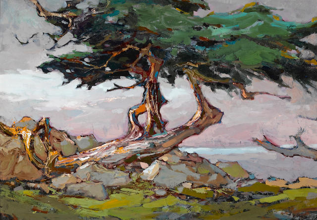 Si Chen Yuan (1911-1974) Coastal Cypress 18 1/4 x 26 1/4in