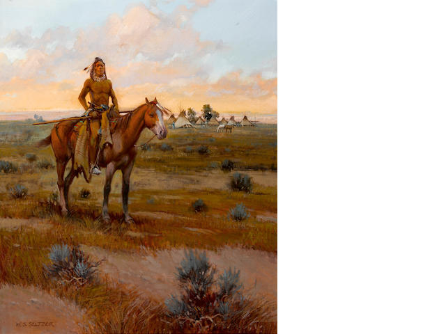 William S. Seltzer, Indian at Sunset