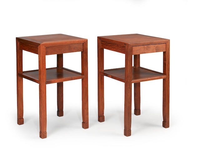 A pair of Chinese hardwood side tables
