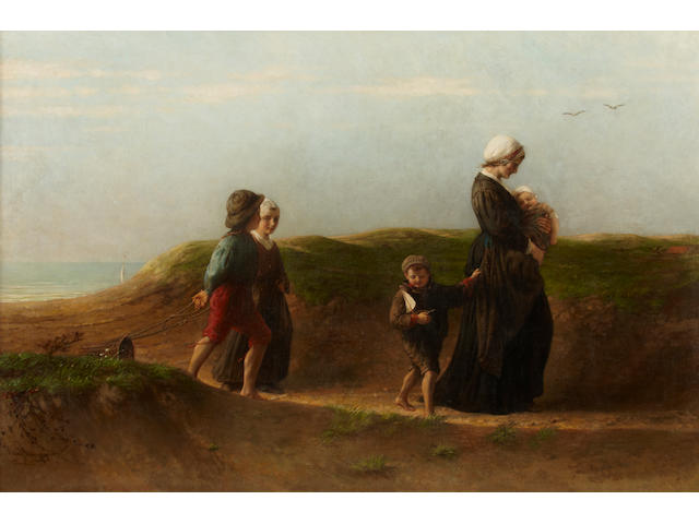Hendricus-Jacobus Burgers (Dutch, 1834-1899) Home from the beach 28 x 41in