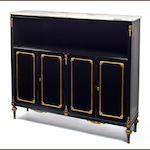 A Maison Jansen ormolu-mounted ebonized-wood and marble bookcase circa 1972