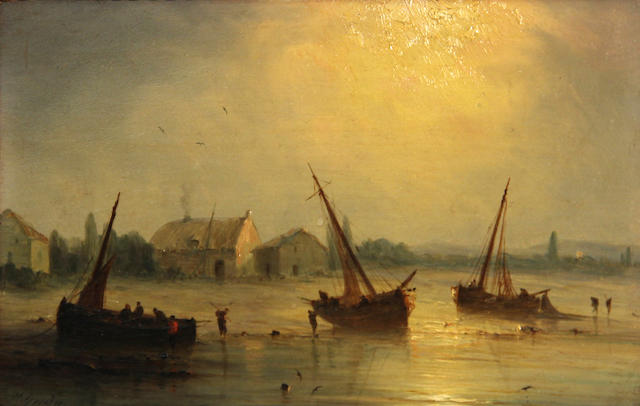 Henriette Gudin (French, born 1825) The day's catch; Fishing boats (a pair) 5 1/4 x 8 1/4in