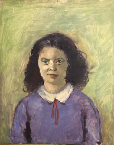 George Chann (Chinese/American, 1913-1995) Girl in a blue sweater and a red tie 20 x 16in
