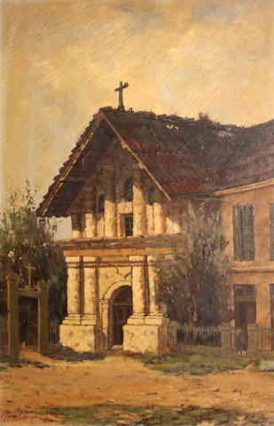 Manuel Valencia (American, 1856-1935) Mission Dolores, San Francisco sight: 23 1/2 x 15 1/2in