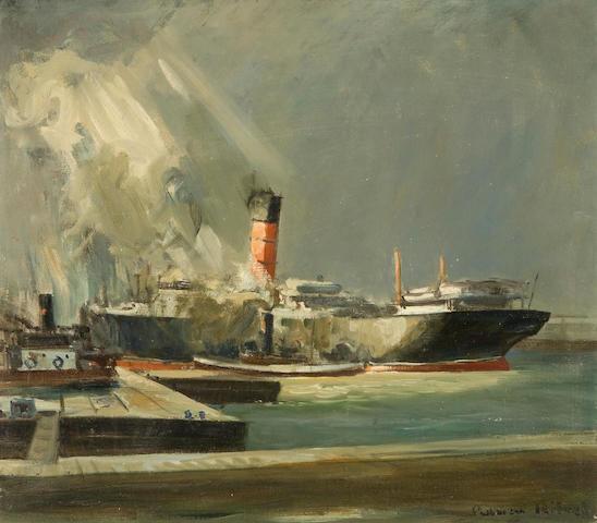 Adrien Hebert RCA (Canadian, 1890-1967) A Cunard Liner in Montreal Harbour