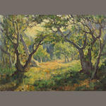 ATTRIBUTED TO GUY ROSE, LANDSCAPE WITH TREES, O/C, UNSIGNED, UNFRAMED.