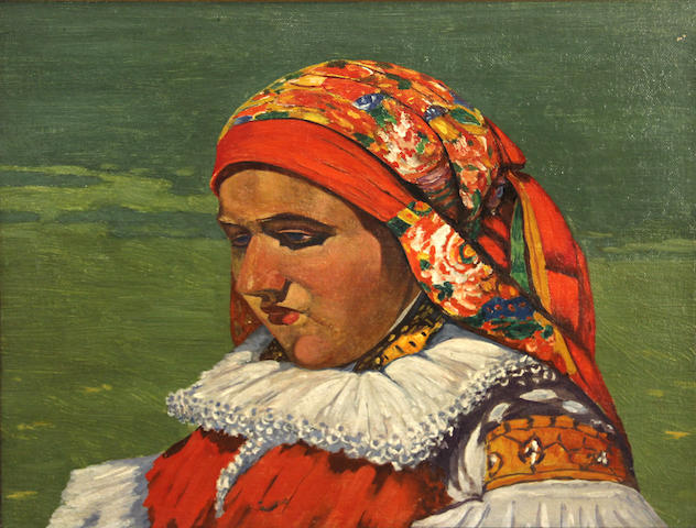 Attributed to Joza Uprka (Czechoslovakian, 1861-1940) A young girl in folk costume 12 x 16in