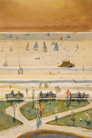 Phil Latimer Dike (American, 1906-1990) Beach and park, 1976 21 1/2 x 14 1/4in