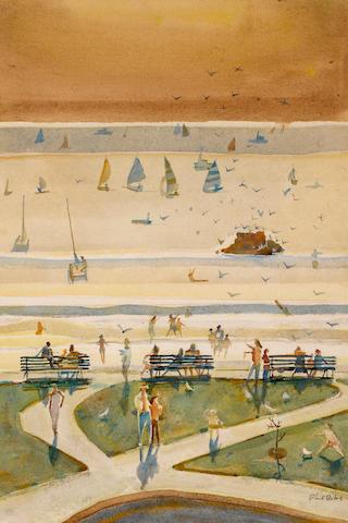 Phil Latimer Dike (American, 1906-1990) Beach and park, 1976 21 1/2 x 14 1/4in
