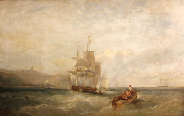 John Wilson Carmichael (British, 1799-1868) Shipping off the coast 24 x 36in