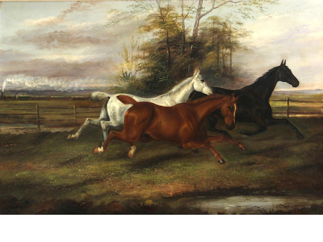 James Clark (British, 1858-1943) At full gallop 16 x 24in