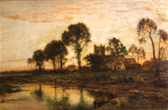Daniel Sherrin (British, 1868-1940) An evening landscape with a church in the distance 24 x 36in