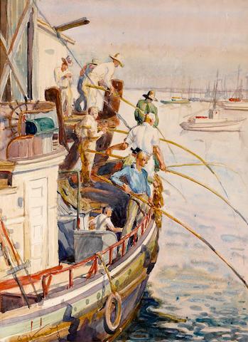 Emil Jean Kosa, Jr. (American, 1903-1968) Fishing, San Pedro sight: 19 x 14in