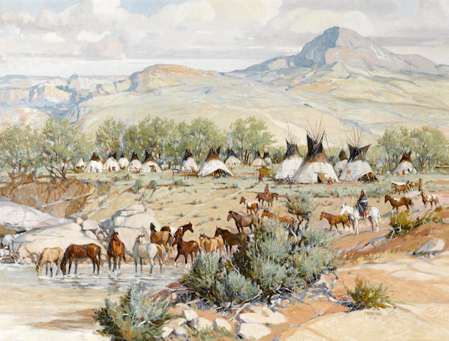 Joe Ferrara (American, 1932-2004) Sioux camp, 1991 30 x 40in
