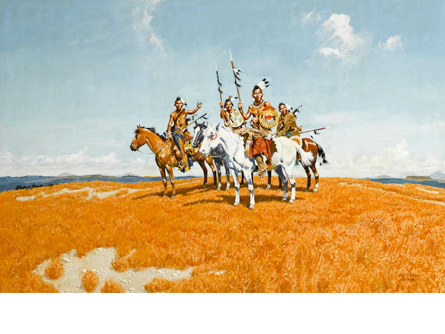 Noel Sickles (American, 1910-1982) Pawnee, 1982 24 x 36in