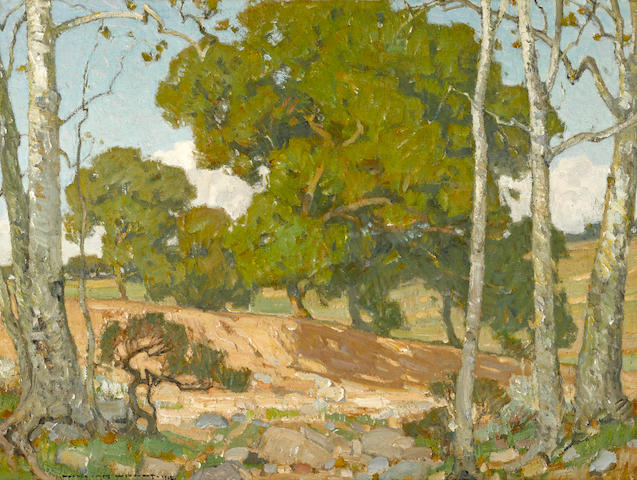 William Wendt (American, 1865-1946) Oaks and Sycamores, 1912 24 x 32in